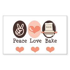 Peace Love Bake Bakers Baking Sticker (Rectangular