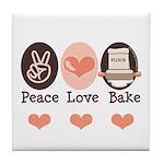 Peace Love Bake Bakers Baking Tile Coaster