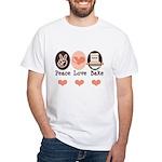 Peace Love Bake Bakers Baking White T-Shirt
