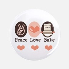 "Peace Love Bake Bakers Baking 3.5"" Button"