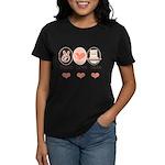 Peace Love Bake Bakers Baking Women's Dark T-Shirt