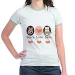 Peace Love Bake Bakers Baking Jr. Ringer T-Shirt