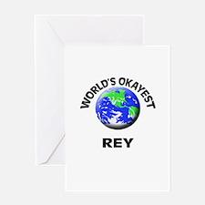 World's Okayest Rey Greeting Cards