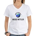 World's Greatest WOOD WITTLER Women's V-Neck T-Shi