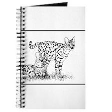 Two Servals in grass Journal