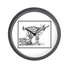 Two Servals in grass Wall Clock