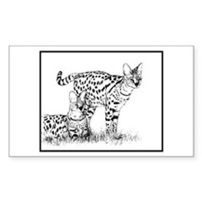 Two Servals in grass Rectangle Decal
