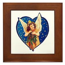 Blue Christmas Angel Framed Tile