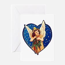 Blue Christmas Angel Greeting Card
