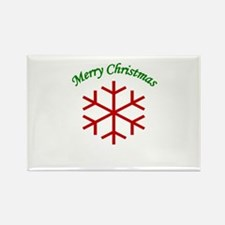 Merry Christmas Snowflake Rectangle Magnet