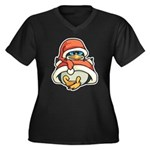 Christmas Penguin Women's Plus Size V-Neck Dark T-