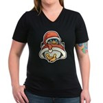 Christmas Penguin Women's V-Neck Dark T-Shirt