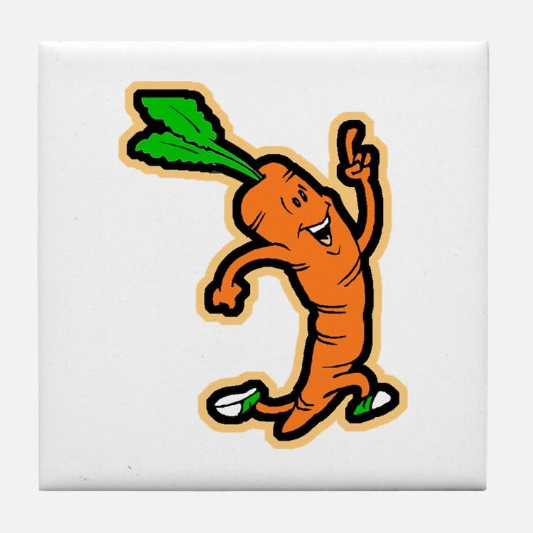 Dancing Carrot Tile Coaster
