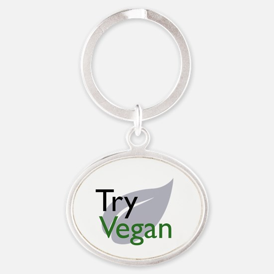 Cute Vegeterian Oval Keychain