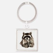 Cute Humorous Watercolor Raccoon Blowing Keychains