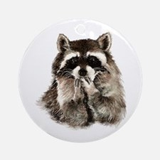 Cute Humorous Watercolor Raccoon Bl Round Ornament