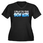 Snow Gods Women's Plus Size V-Neck Dark T-Shirt