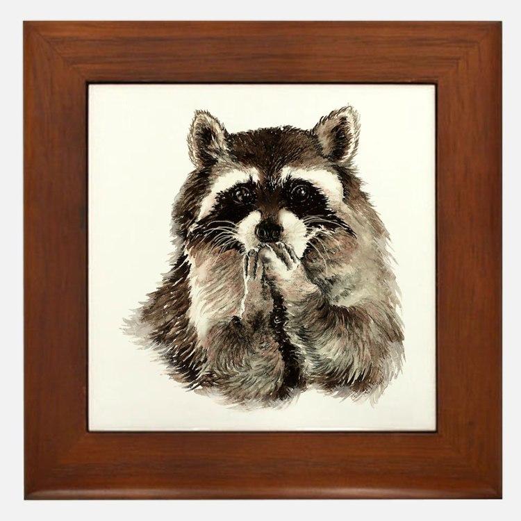 Cute Humorous Watercolor Raccoon Blowi Framed Tile
