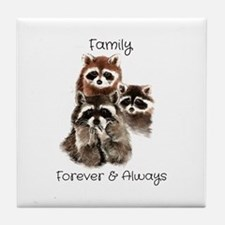 Family Forever Always Quote Watercol Tile Coaster