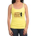 Funny Man Hater slogan on womens Jr. Spaghetti Ta