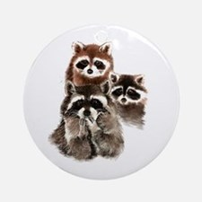 Cute Watercolor Raccoon Animal Fami Round Ornament