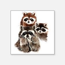 Cute Watercolor Raccoon Animal Family Sticker