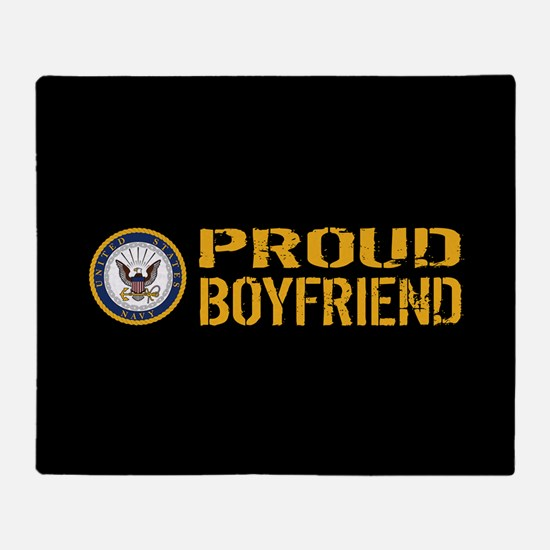 U.S. Navy: Proud Boyfriend (Black) Throw Blanket
