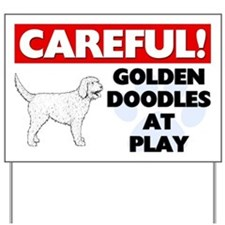 Careful Goldendoodles At Play Yard Sign