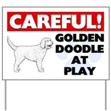 Careful Goldendoodle At Play Yard Sign