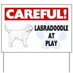 Careful Labradoodle At Play Yard Sign