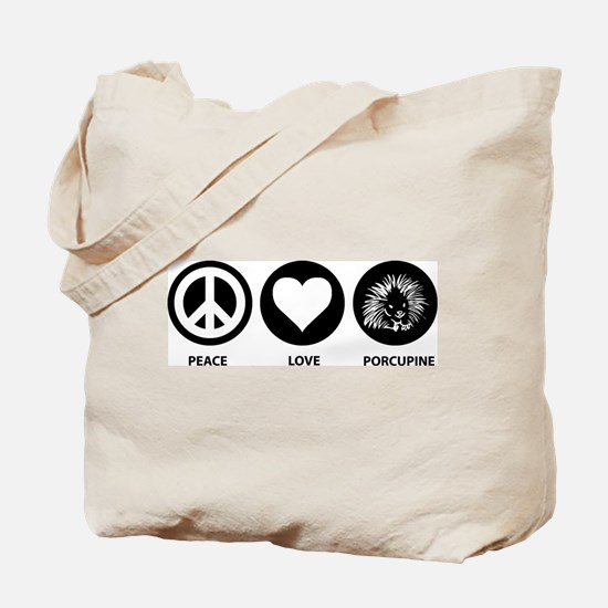Peace Love Porcupine Tote Bag