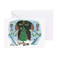 christmas tree monkey Greeting Cards (Pk of 10)