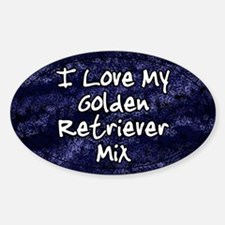 Funky Love Golden Retriever Mix Oval Decal