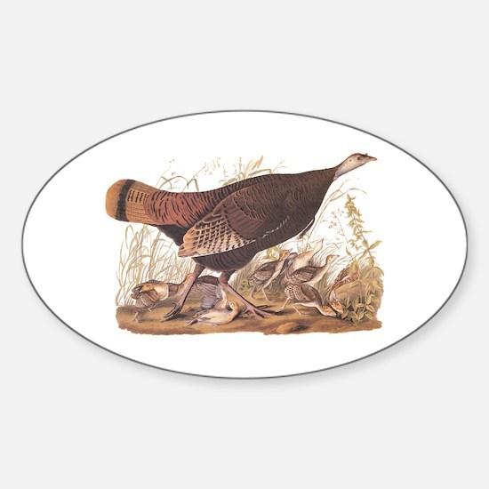 Wild Turkey Hen with Chicks Audubon Bookpl Decal