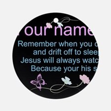 Personalize His Sheep Round Ornament