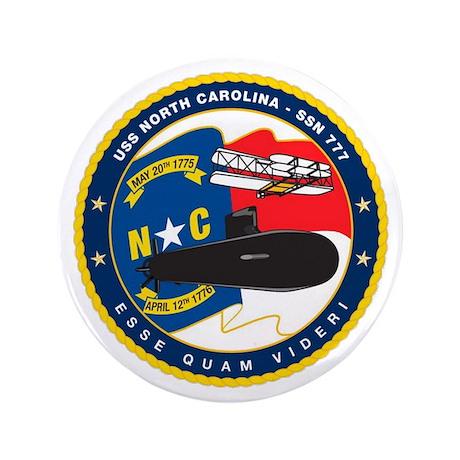"""SSN 777 North Carolina 3.5"""" Button"""