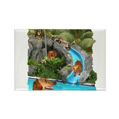 Summer Water Dachshunds Dogs Rectangle Magnet