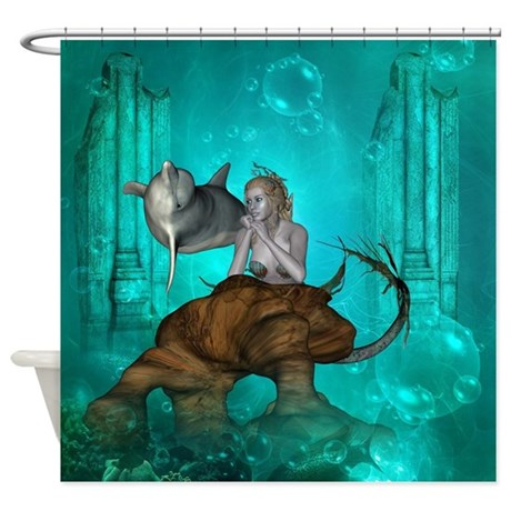 Wonderful Mermaid With Dolphin Shower Curtain