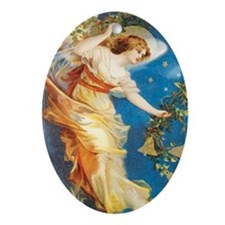 Angel with Bells Oval Ornament