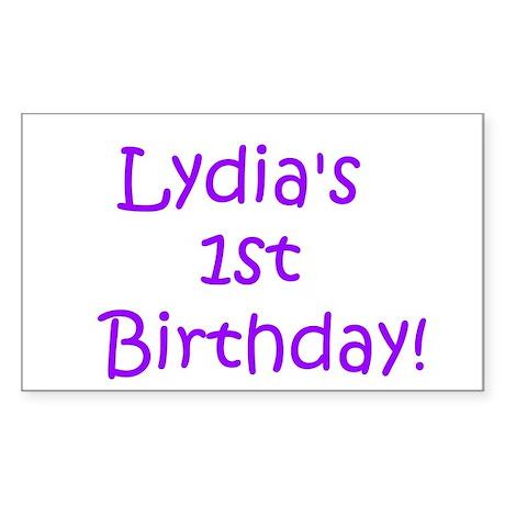 Lydia's 1st Birthday! Rectangle Sticker