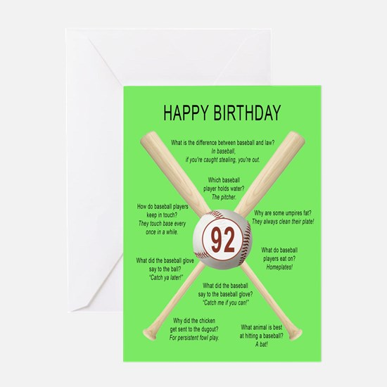 92nd birthday, awful baseball jokes Greeting Cards