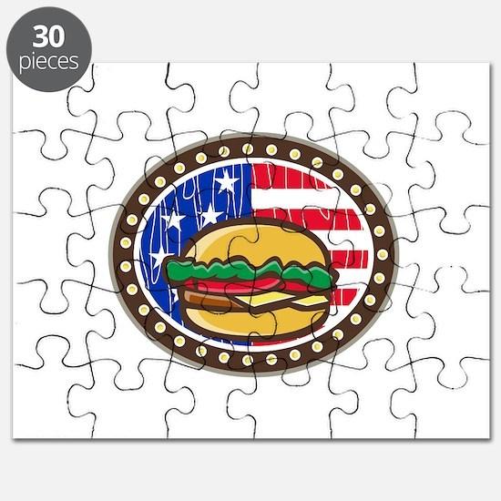 American Cheeseburger USA Flag Oval Cartoon Puzzle