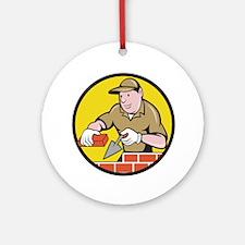 Bricklayer Bricks Trowel Circle Cartoon Round Orna