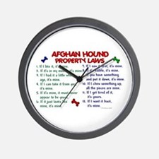 Afghan Hound Property Laws 2 Wall Clock