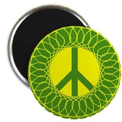 Green Peace Sign Magnet