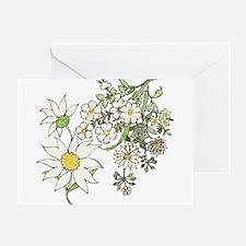 Vintage Floral Art Daisies Illustration Greeting C