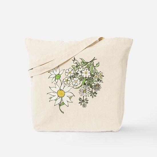 Vintage Floral Art Daisies Illustration Tote Bag
