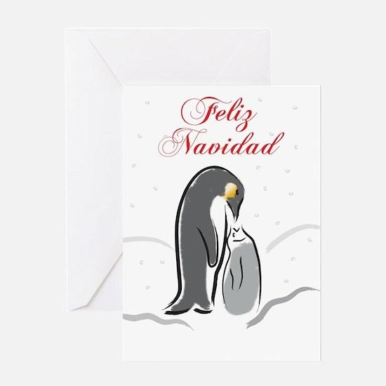 Penquin feeding Feliz Navidad Greeting Card