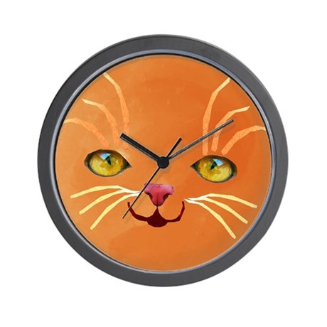 orange cat face Wall Clock