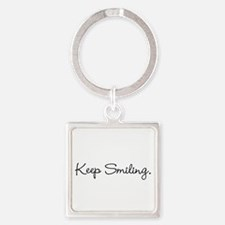 Keep Smiling Script Black Keychains